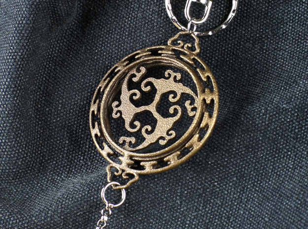 Chinese Lucky Cloud Charm  in Polished Bronze Steel