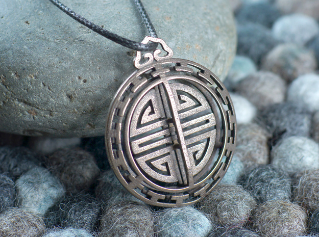 Chinese Lucky Charm in Polished Bronzed Silver Steel