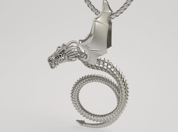 Scary Dragon pendant in Natural Silver