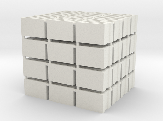 64 Hohlblocksteine (Cinder Blocks) (1 : 45) in White Natural Versatile Plastic