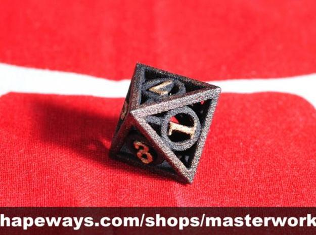 Deathly Hallows d8 3d printed Plastic with Copper & Gold Rub'n'Buff