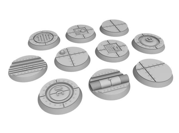 25mm Indoor Industrial wargaming bases in White Natural Versatile Plastic