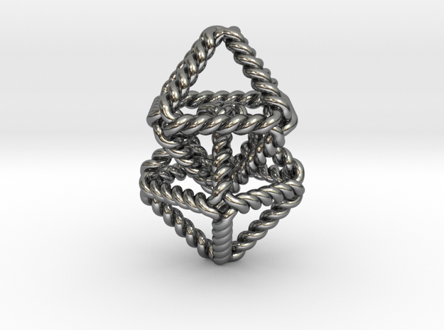 "Interlocking Twisted Octahedrons 1.2"" in Polished Silver (Interlocking Parts)"