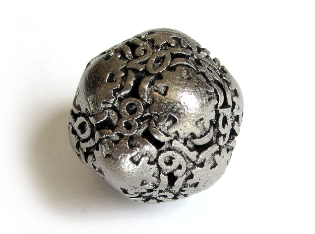 Art Nouveau Die20 3d printed In Polished Nickel Steel and inked