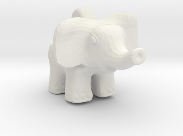 Baby Elephant Pendant in White Natural Versatile Plastic