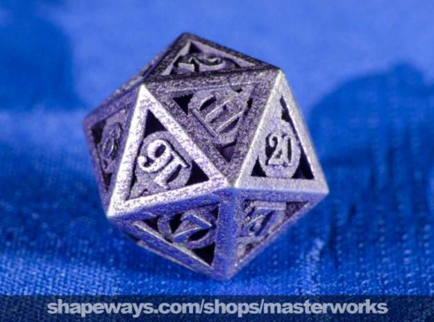 Deathly Hallows d20 in Polished Bronzed Silver Steel