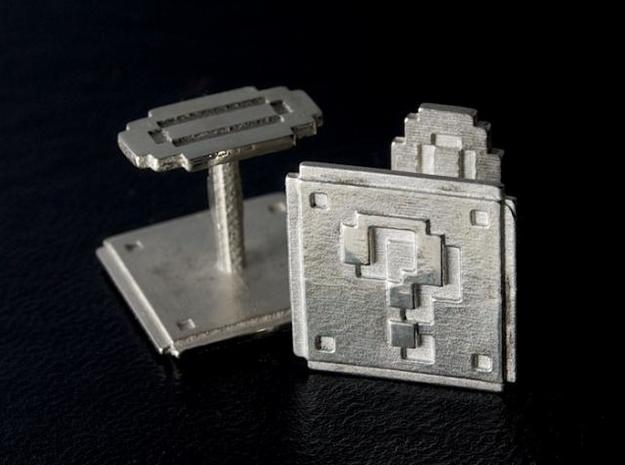 Question block cufflinks in Polished Silver