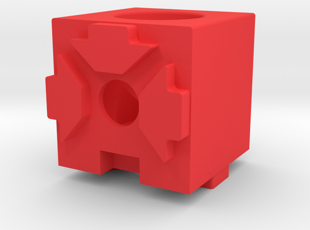 MakerBeam (10x10mm) 2 Corner Cube in Red Processed Versatile Plastic