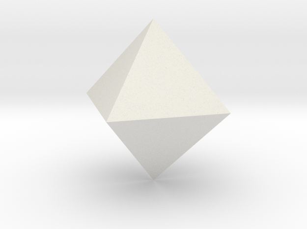 Octahedron, 25 mm in White Natural Versatile Plastic