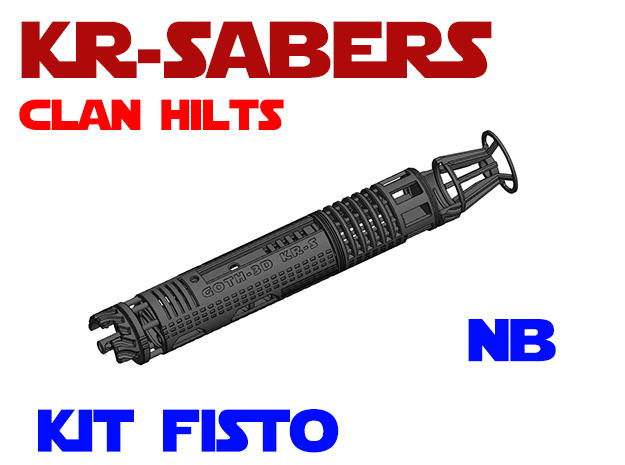 KR-S Clan Hilts - Kit Fisto - NB Chassis in White Natural Versatile Plastic