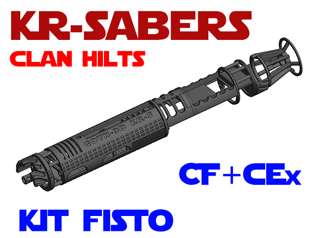 KR-S Clan Hilts - Kit Fisto - CF Chassis in White Natural Versatile Plastic