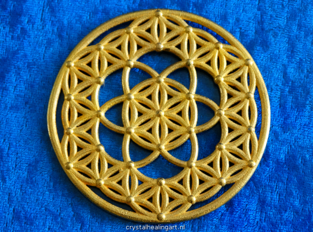 Seed Of Life - Flower Of Life in Polished Gold Steel
