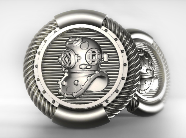 DIVER CUFFLINKS (single) in Natural Silver