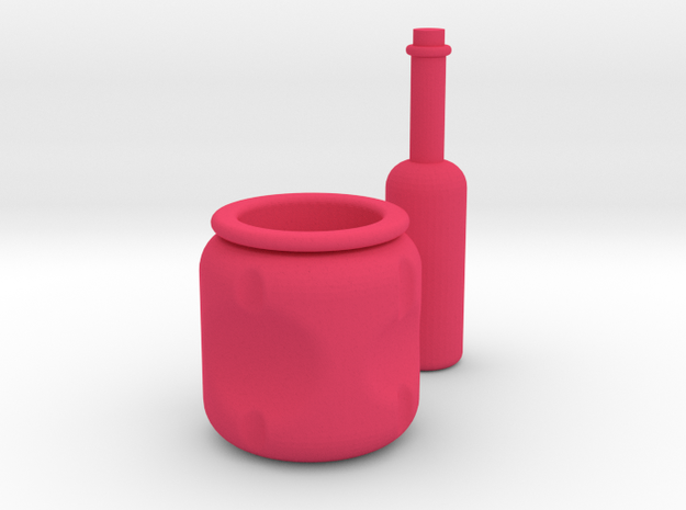 Pot and Bottle set in Pink Processed Versatile Plastic