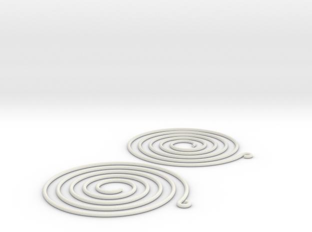 Earrings Spiral 001 in White Natural Versatile Plastic