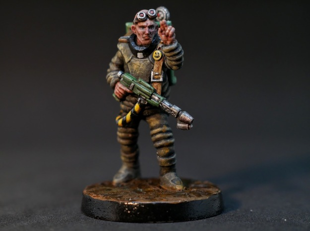 Father Otto - 28mm Sci-fi Wandering Zealot  in Smooth Fine Detail Plastic