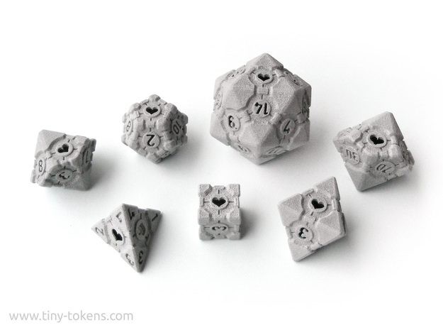 Companion Cube Polyhedral 7 Dice Set (+ decader) in Polished Metallic Plastic: Small