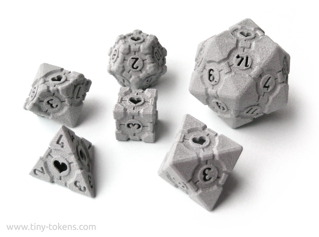 Companion Cube Polyhedral 6 Dice Set in Polished Metallic Plastic: Small