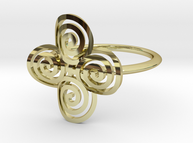 """Celtic """"life and death"""" quadruple spiral ring in 18k Gold Plated Brass"""