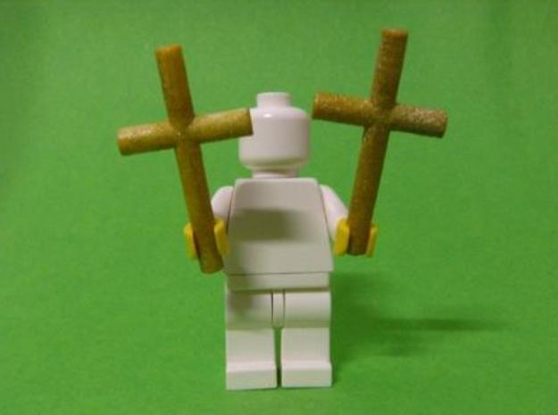 2 Crosses for Minifigs 3d printed Painted golden