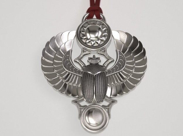 Winged Scarab  pendant Classic in Natural Silver