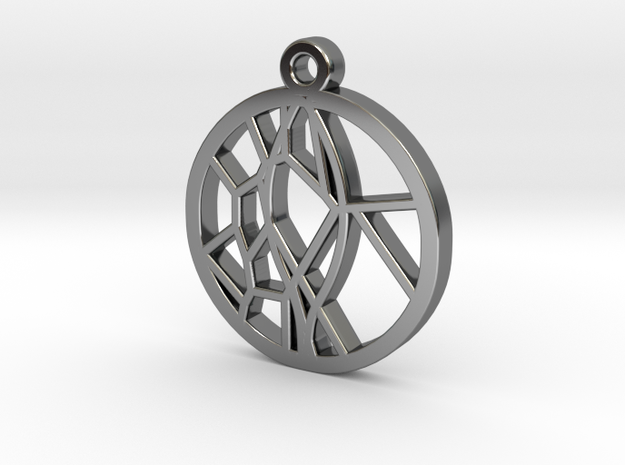 Voronoi Teak Leaf Charm in Fine Detail Polished Silver