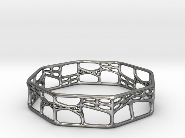 Voronoi Octagonal Bracelet 65mm (001a) in Premium Silver