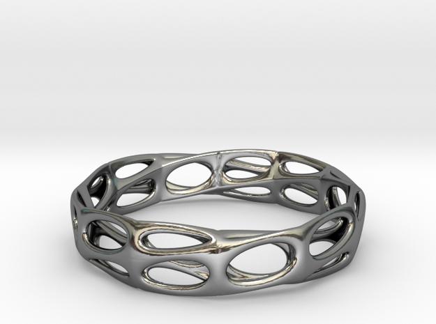 Mobius Band Voronoi Bracelet 65mm (001) in Premium Silver