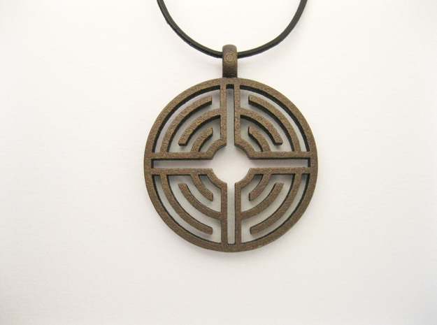 Labyrinth Pendant in Natural Bronze