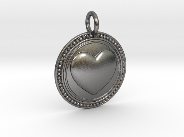NewCompassionHeart in Polished Nickel Steel