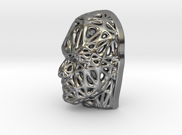 Miniature Male Voronoi Face in Fine Detail Polished Silver