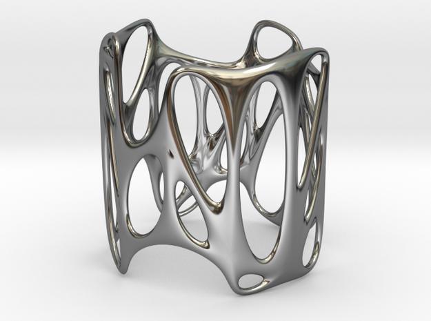 Voronoi Wire Bracelet 65mm x 75mm (001) in Premium Silver