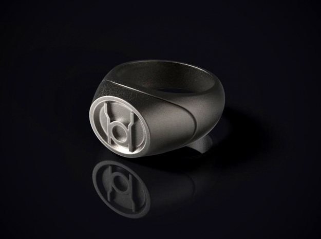 22.2 mm Red Lantern Ring - WotGL in Polished Bronzed Silver Steel
