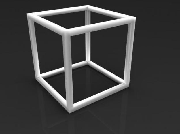 Cube Pendant 3d printed white strong & flexible