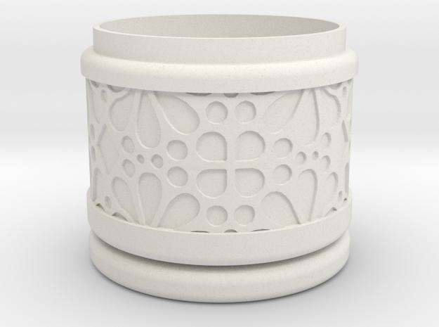 Gift Box round No. 1 with Mosaik-3 (solid, short) in White Natural Versatile Plastic