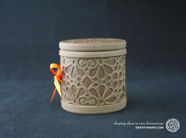 Gift Box No. 1 with Mosaic-3 (solid-filigree high) in White Natural Versatile Plastic