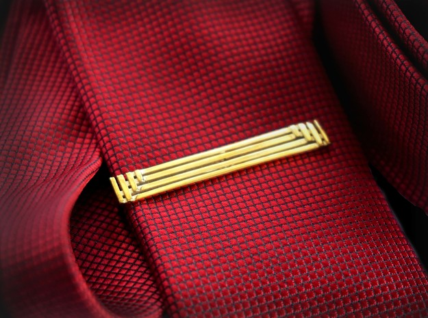 Geometric Art Deco Tie Clip in Polished Brass: Small
