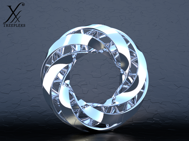 Double DNA trefoil, Cycle of life in Fine Detail Polished Silver