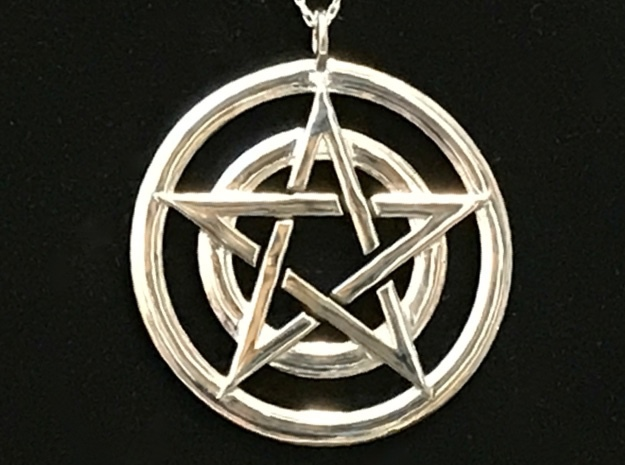 Pentacle Pendant - Circles in Rhodium Plated Brass