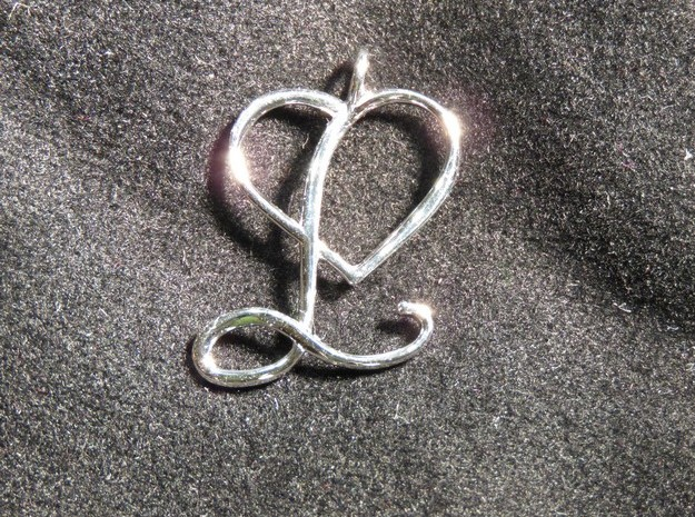 Heart L pendant in Rhodium Plated