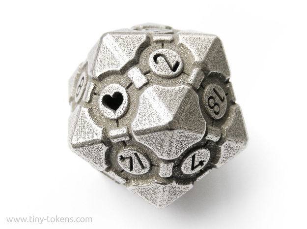 Companion Cube D20 - Portal Dice in Polished Bronzed Silver Steel: Small