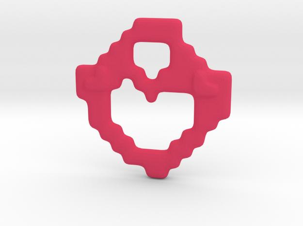 Blocky Heart Pendant in Pink Processed Versatile Plastic