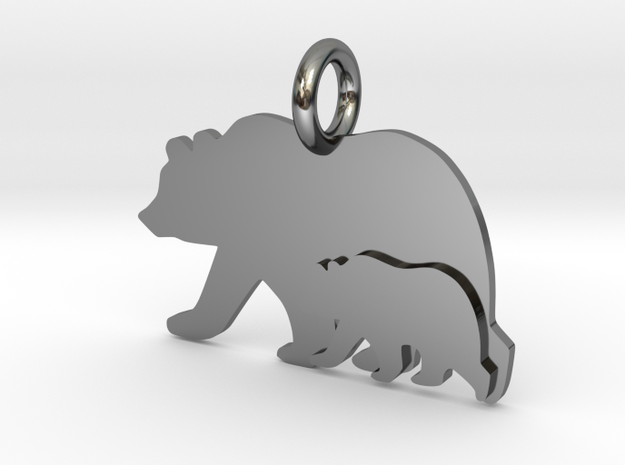 Mama and Baby Bear in Fine Detail Polished Silver