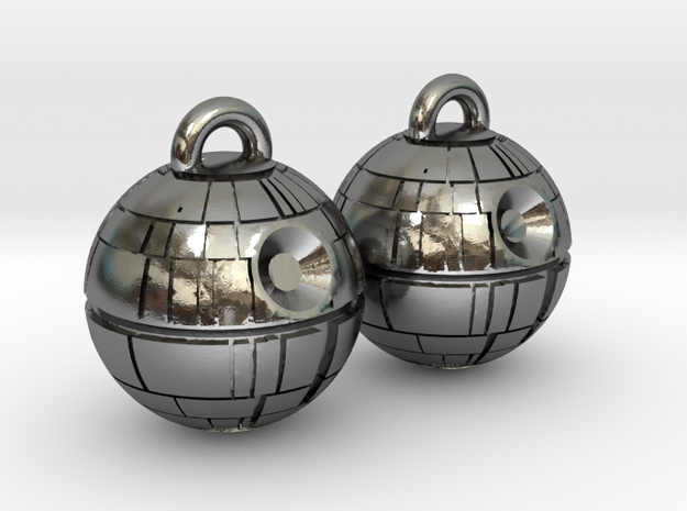 Death Star Earrings in Polished Silver