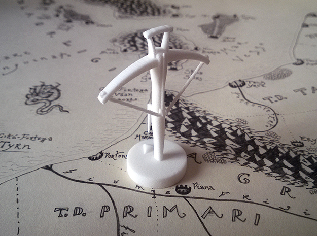 Role Playing Counter: Crossbow 3d printed Crossbow in Strong & Flexible Plastic (Polished White)