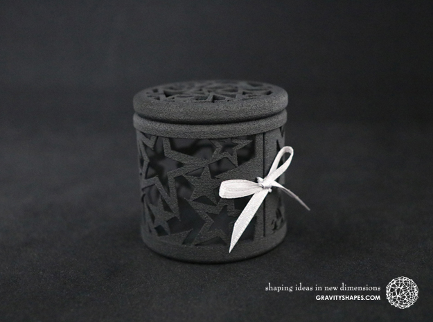 Gift Box No. 1 with Stars (filigree, high) in Black Natural Versatile Plastic