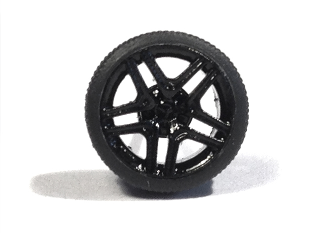 """1/87 Car tyres """"SPORT"""" - wheels with profile in Smooth Fine Detail Plastic"""
