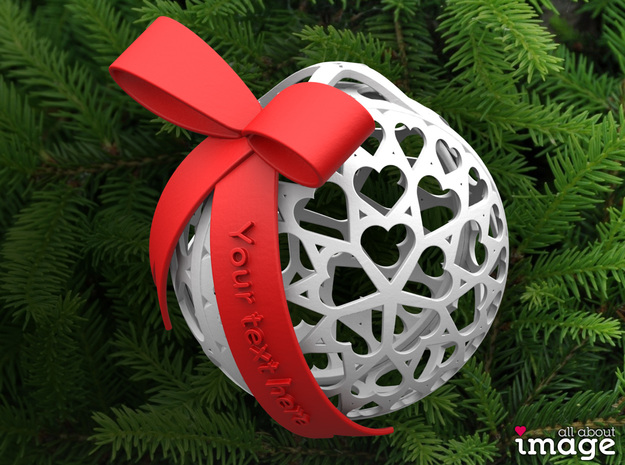 Customizable Christmas Ornament - Hearts in White Strong & Flexible Polished