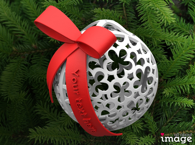 Customizable Christmas Ornament - Flowers in White Strong & Flexible Polished