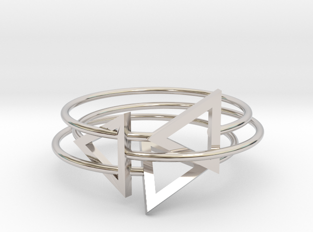 Triangles Ring in Rhodium Plated Brass